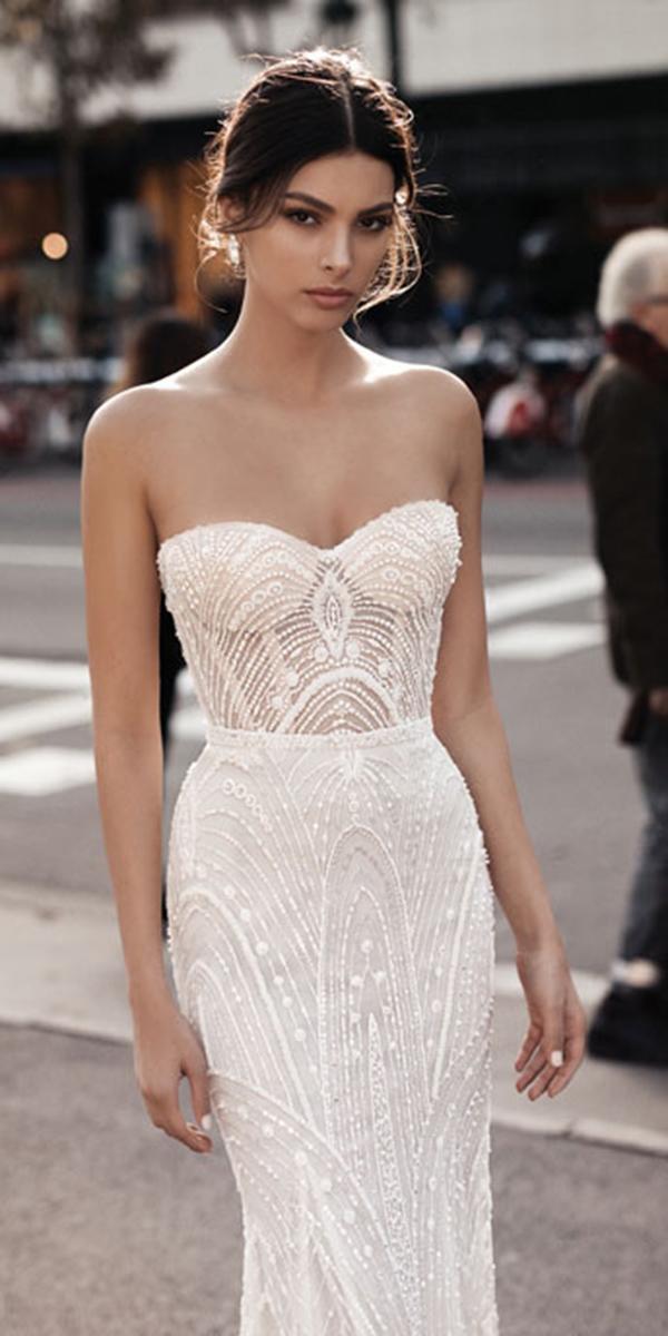 sheath lace strapless sweetheart gali karten wedding dresses