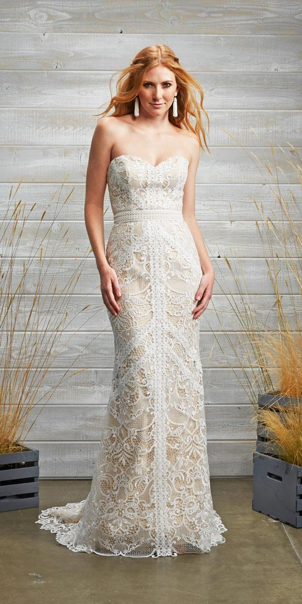 sheath lace sweetheart wedding dresses with train tara lauren style brixton