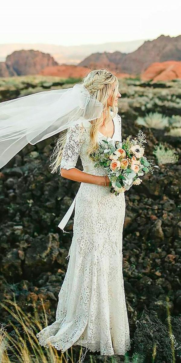 sheath lace v neck with sleeves country wedding dresses monique lhuillier