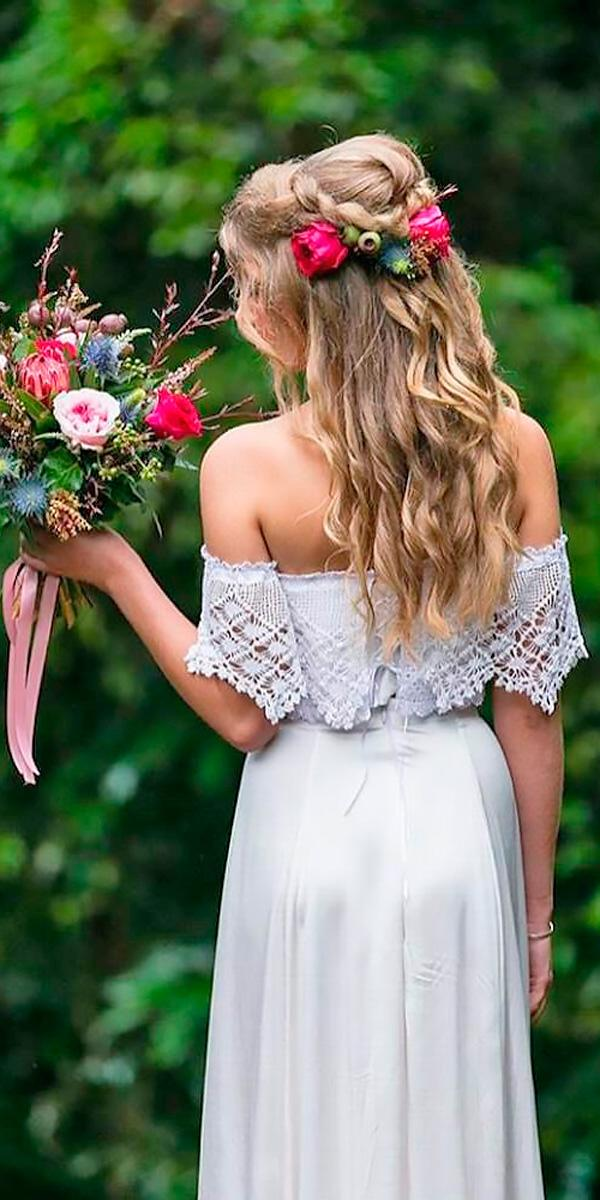 boho style sheath lace with sleeves off the shoulder wedding dresses coastal love collective