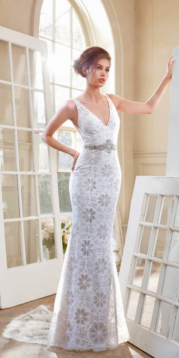 sheath lace with v neckline crystal belt and chapel train tara keely wedding dresses