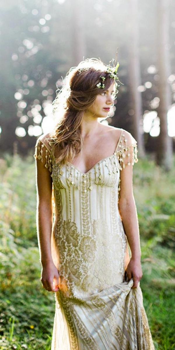 sheath light green with guipure off shoulder claire pettibone wedding dresses