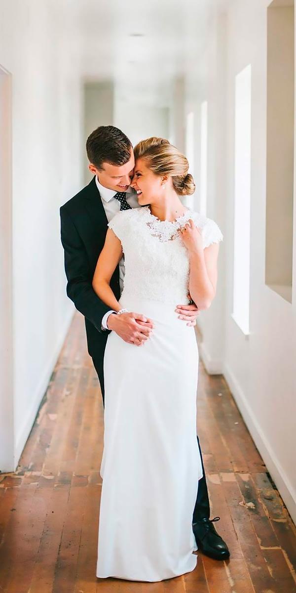sheath modest high neckline with short sleeves country wedding dresses rebecca johnson
