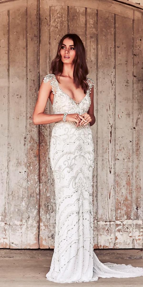 sheath scoop neck cap sleeve with beaded bodice destination wedding dresses anna campbell