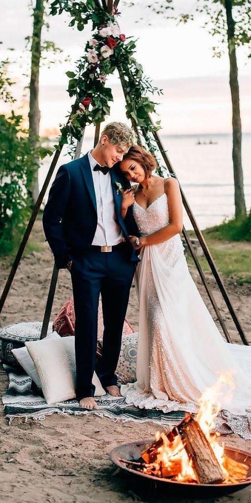 sheath sweetheart spaghetti straps country wedding dresses sara monika