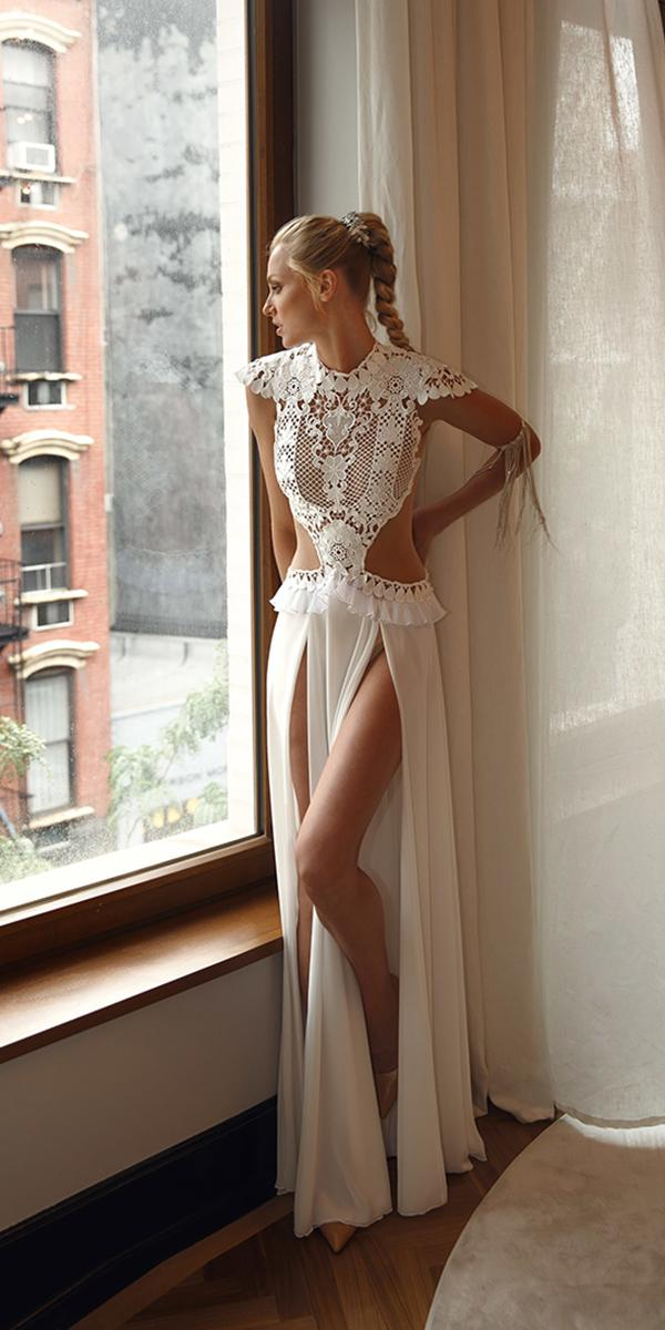 sheath two piece with slits and tattoo efect lior charchy wedding dresses