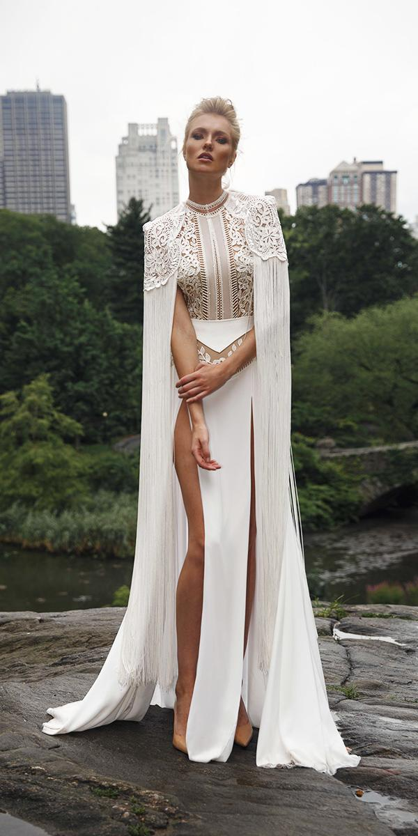 sheat two piece with with slits lior charchy wedding dresses