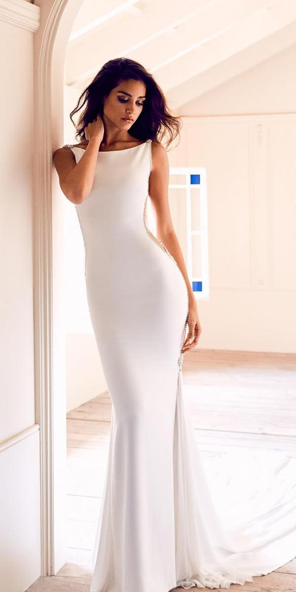 simple sexy sheath wedding dresses sleeveless pronovias