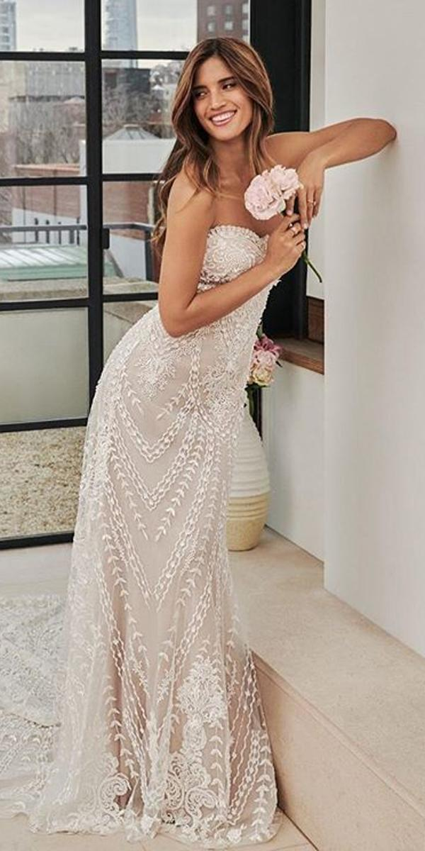 sheath wedding dresses strapless sweetheart neck lace embroidered bodice pronovias
