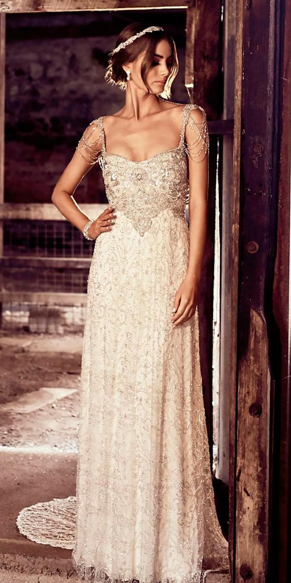 sheath wedding dresses vintage spaghetti strap fully embroided anna campbell