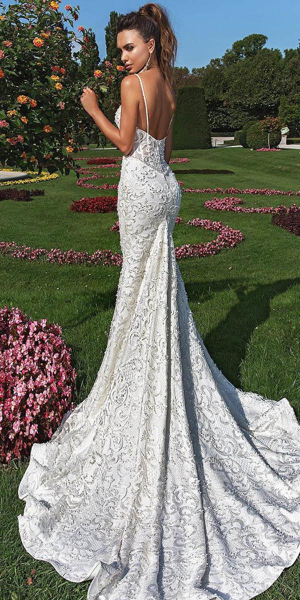 lace sheath wedding dresses with spaghett straps crystal design
