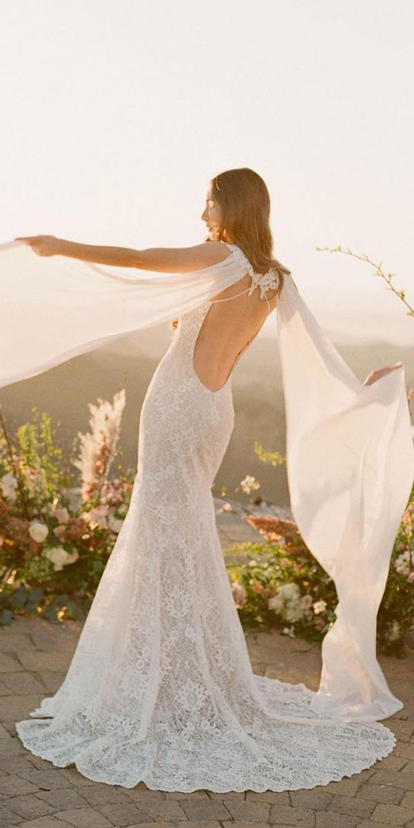 lace sheath with deep open back claire pettibone wedding dresses