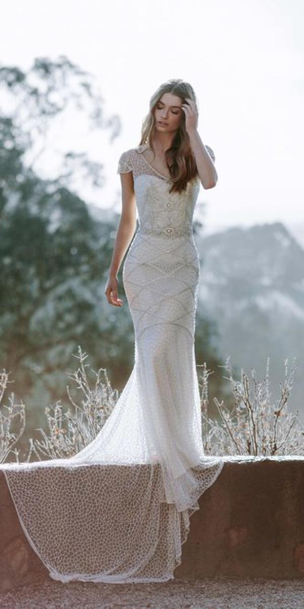 sheath with embellished lace and belt train anna campbel wedding dresses