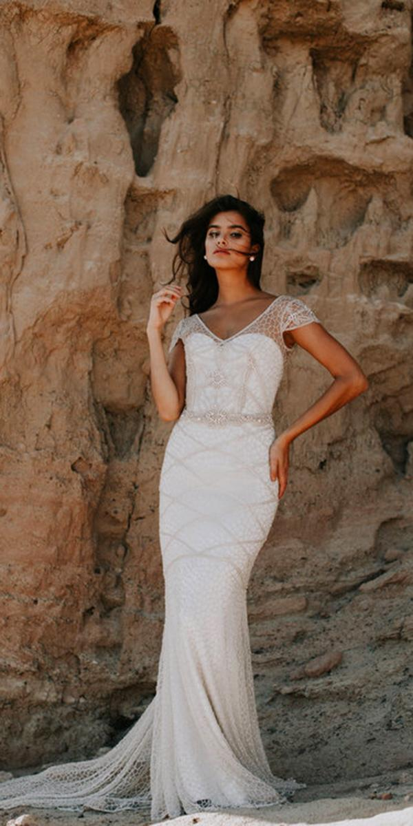 sheath with embellishe laces and illusion sweetheart anna campbell wedding dresses