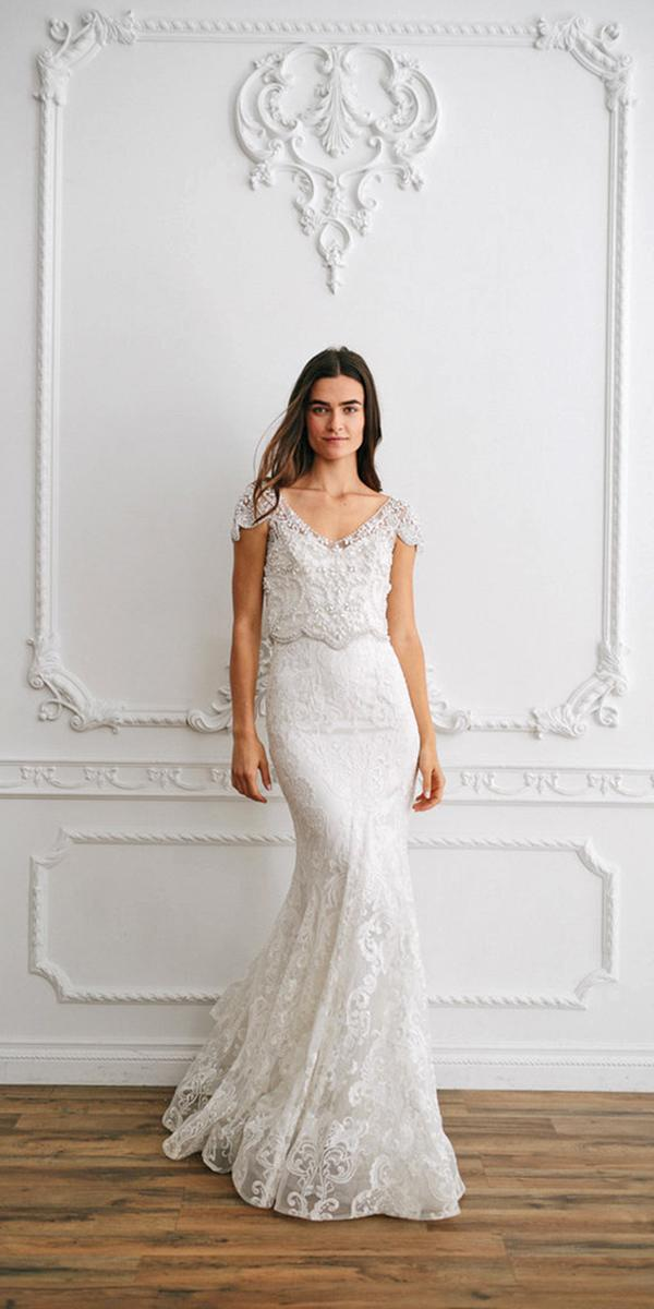 sheath with embellished luxurious laces and cristal belt anna campbell wedding dresses