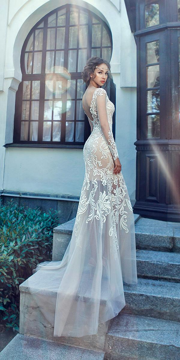 sheath with embroidered lace and illusion sweetheart and long sleeves and train milva wedding dresses