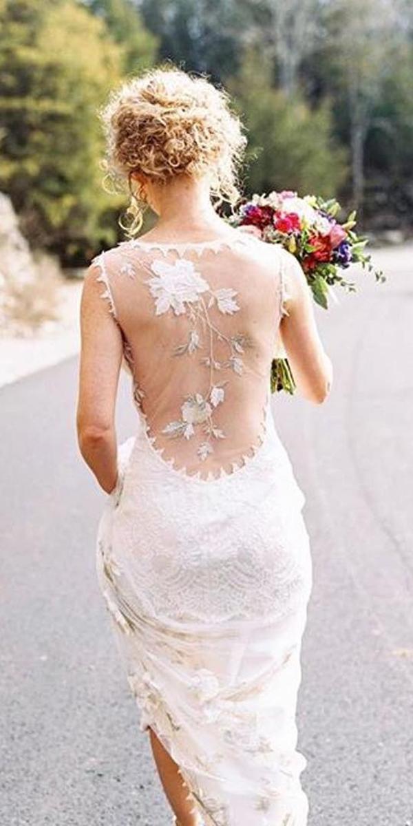 rustic boho illussion floral lace back wedding dresses claire pettibon