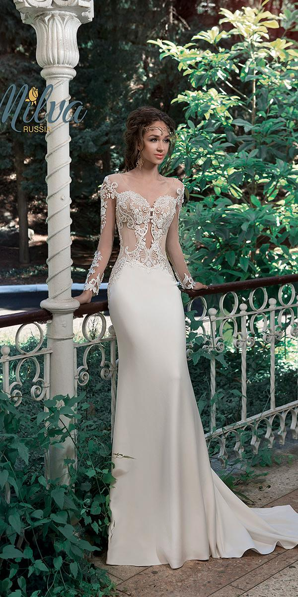 sheath with floral embroidered lace top and long illusion sleeves milva wedding dresses