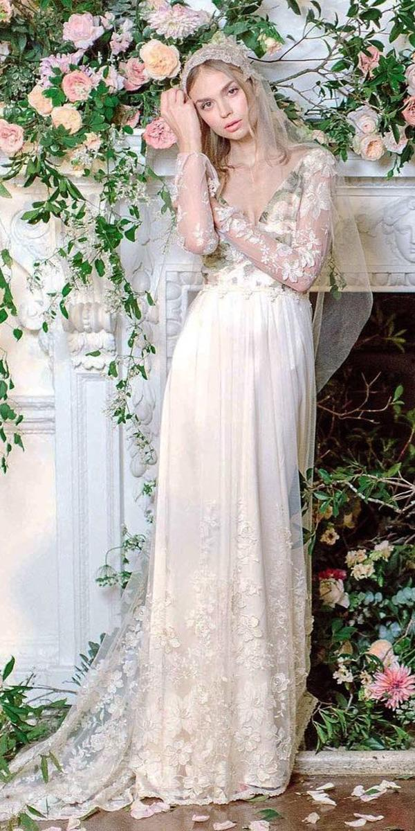 rustic boho wedding dresses with floral tattoo effect clair pettibone