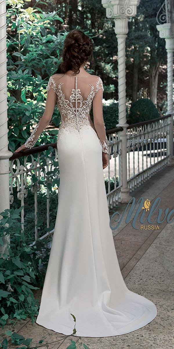 sheath with illusion back with buttons and long sleeves and train milva wedding dresses