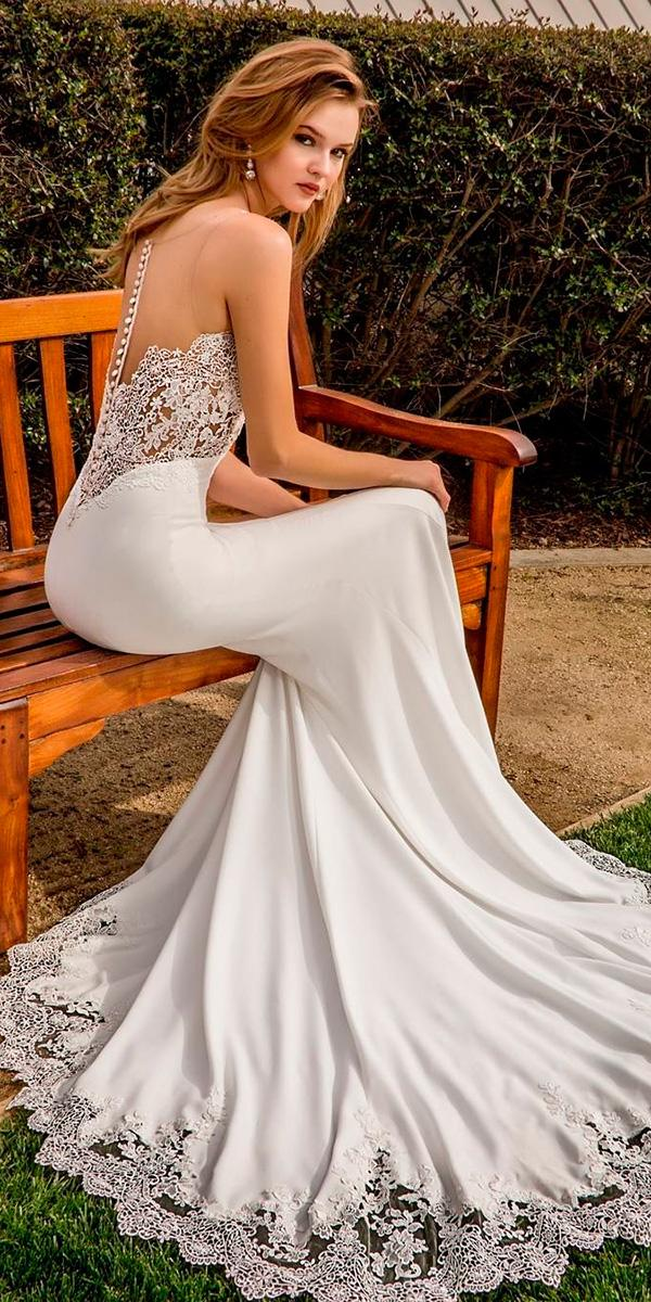 vintage sheath with illusion back with buttons and train enzoani wedding dresses