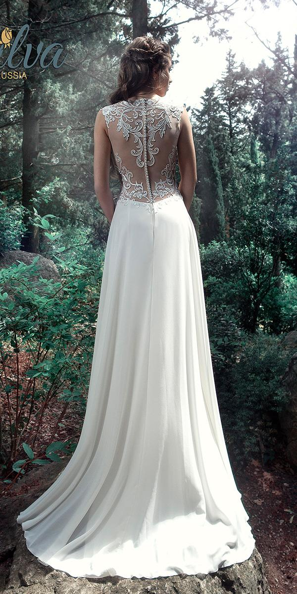 sheath sleevless wedding dresses with illusion lace back milva