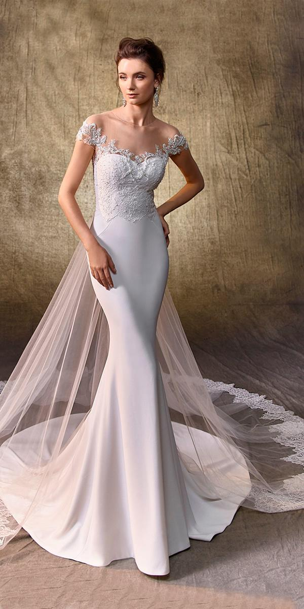 sheath with illusion jewel neck with off shoulder sleeves and train enzoani wedding dresses