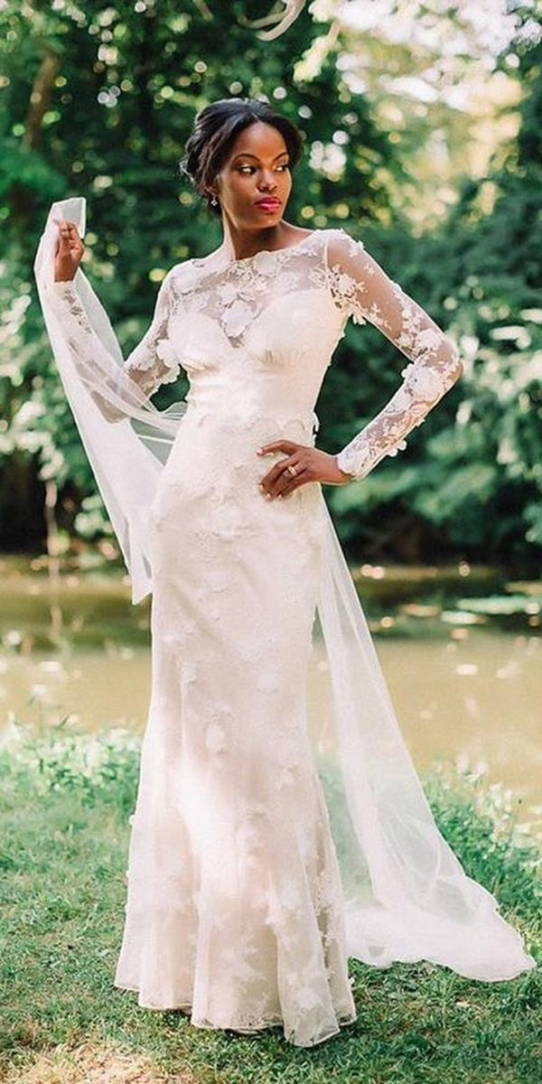 sheath with lace long sleeves and tattoo effect claire pettibone wedding dresses
