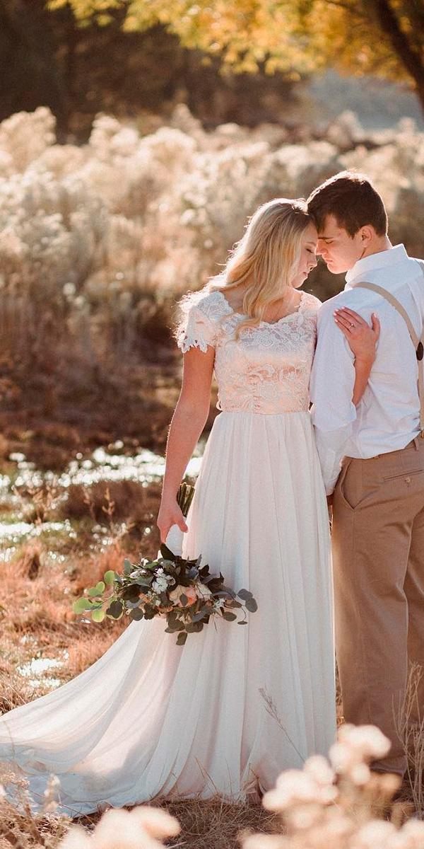 country rustic sheath with lace top and short sleeves wedding dresses elizabeth cooper