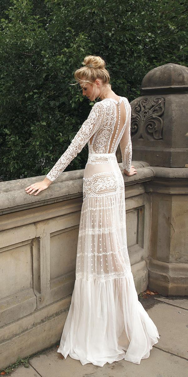 sheath with long sleeves and v back lior charchy wedding dresses