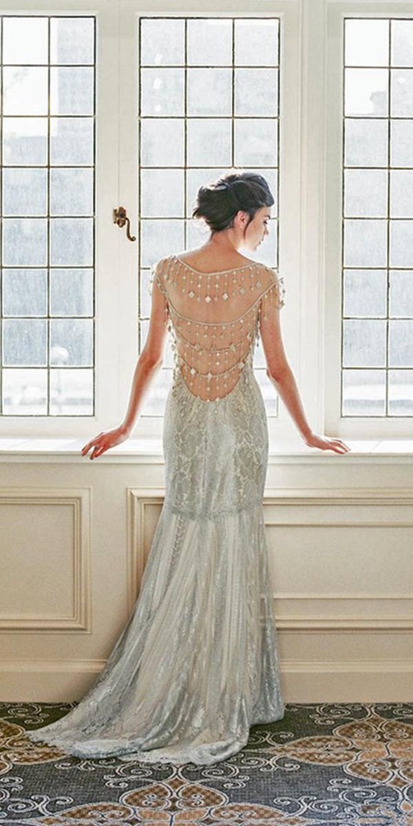 vintage open back silver guipure lace wedding dresses claire pettibone