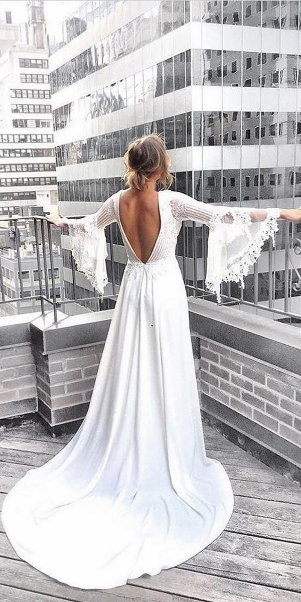 sheath with open back long sleeves and train claire pettibone wedding dresses