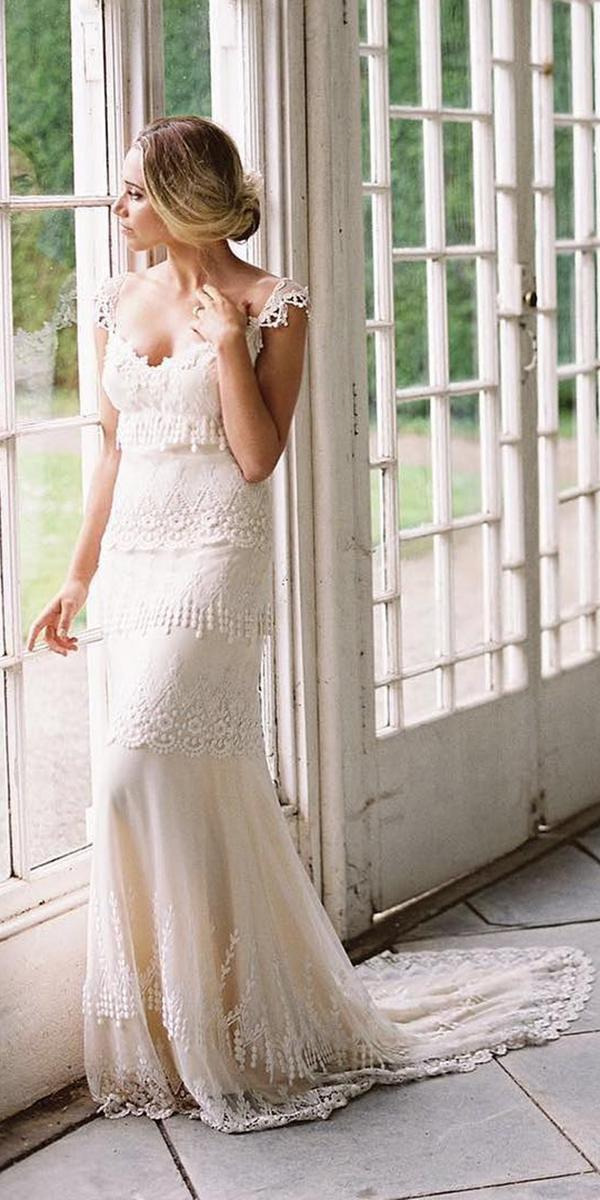 country style sheath with semi sweetheart wedding dresses by claire pettibone