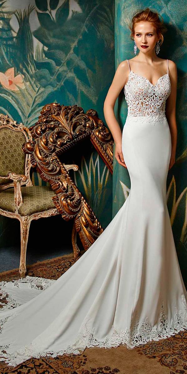 vintage sheath lace spaghetti strap sweetheart wedding dresses enzoani