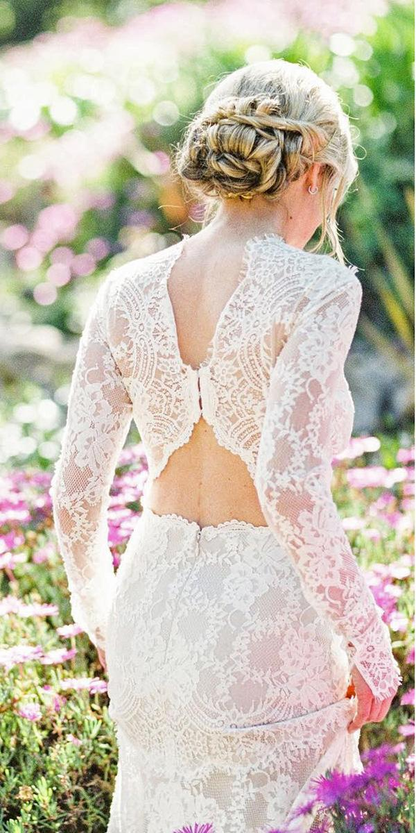 lace wedding dresses with unique back and long sleeves claire pettibone