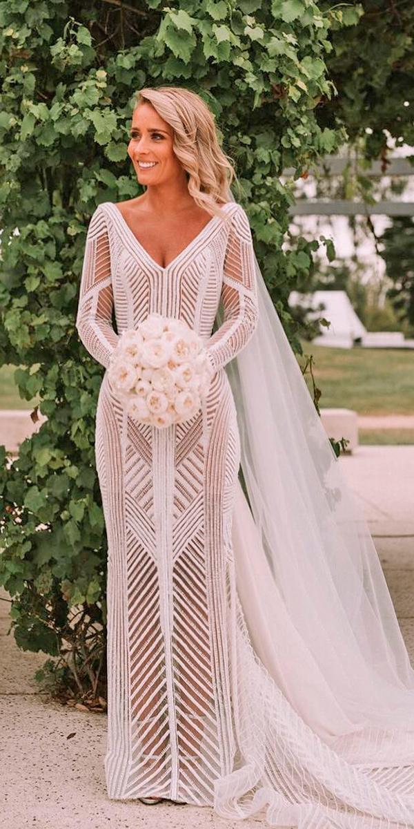 sheath with v neckline and long sleeves and train paolo sebastian wedding dresses