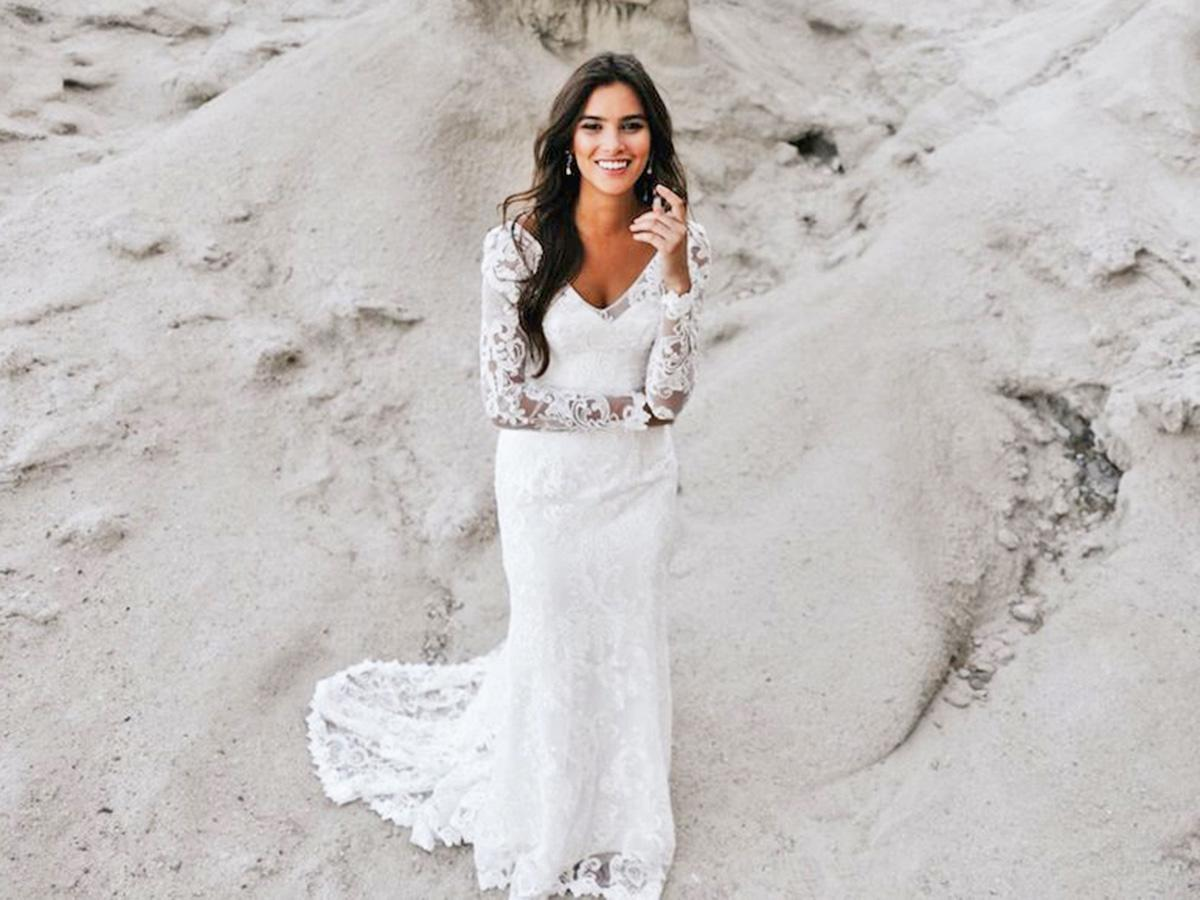 sheath with v neckline and long sleeves anna campbell wedding dresses