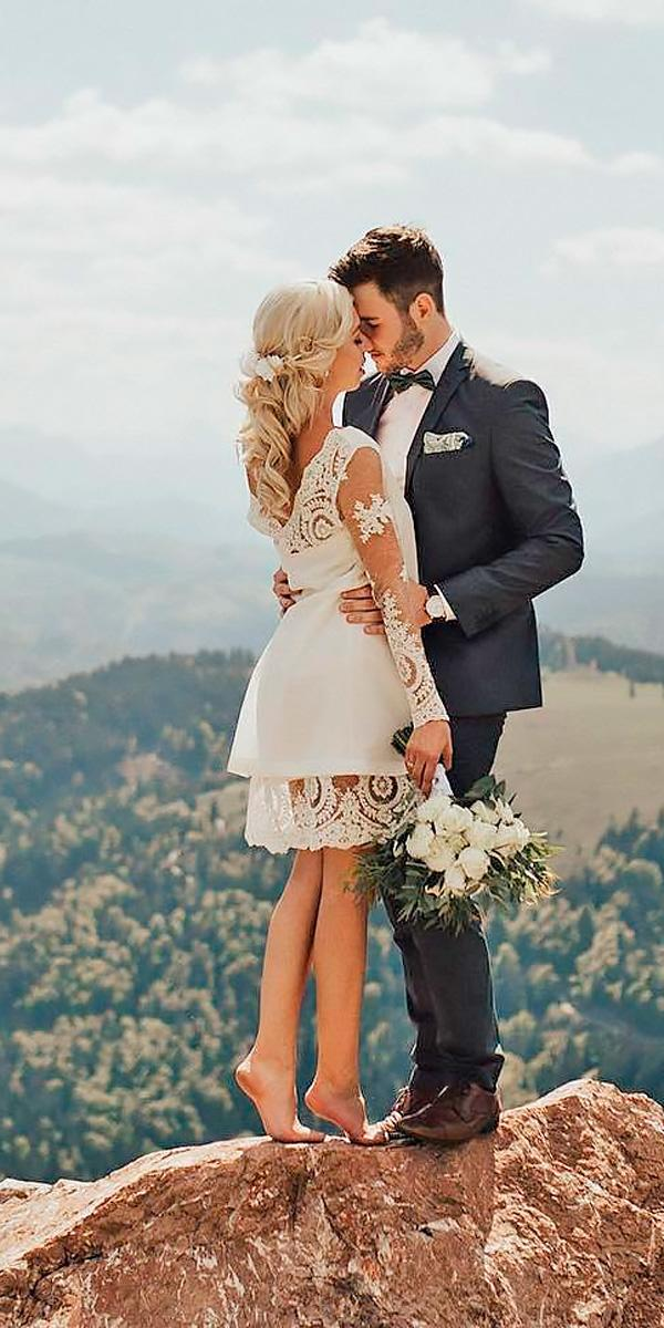 short long sleeved country wedding dresses with layered skirt and long sleeves lukas leonte
