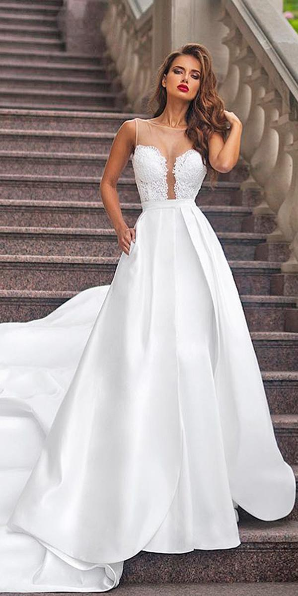silk wedding dresses a line deep v neckline illusion sweetheart romantic simple ariamo bridal