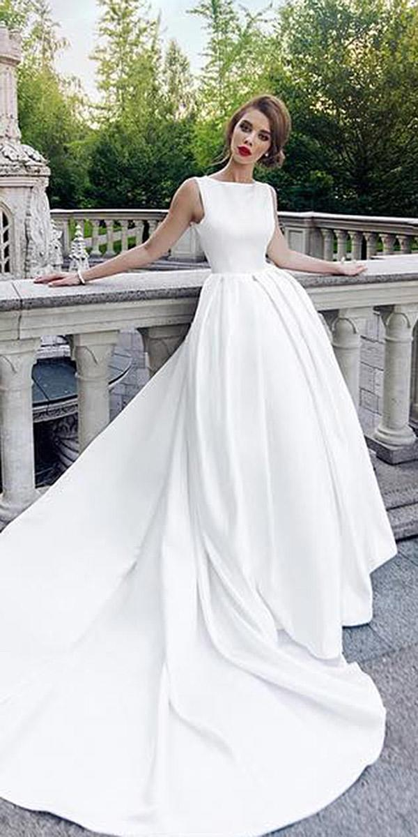 silk wedding dresses a line jewel neckline seeveless simple ariamo bridal