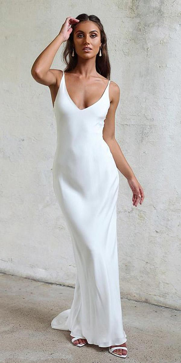 silk wedding dresses sheath spaghetti straps simple grace loves lace