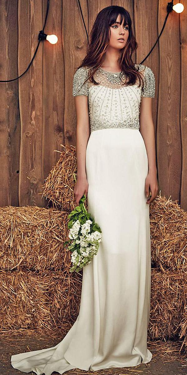 silk wedding dresses sheath with cap sleeves beaded top romantic jenny packham