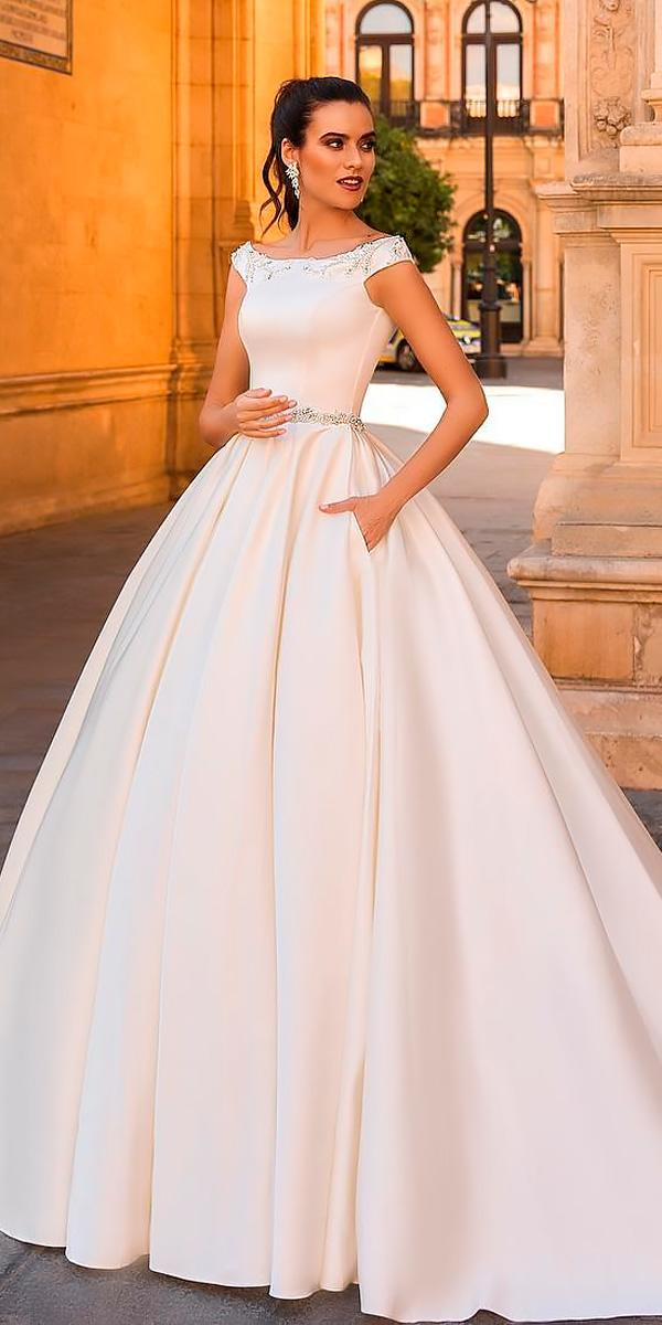 simple off the shoulder ball gowns wedding dresses crystal design