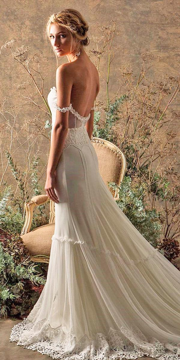 simple open back boho off the shoulder wedding dresses with train dreamers lovers