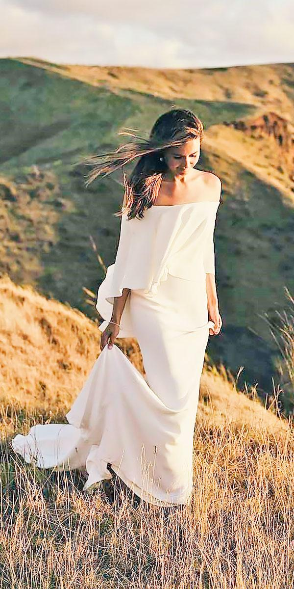 simple sheath off the shoulder wedding dresses danelle bohane