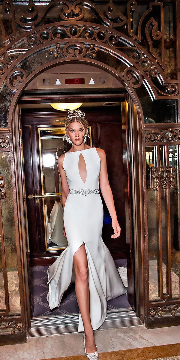simple sleeveless boat neckline elegant sheath wedding dresses alessandra rinaudo
