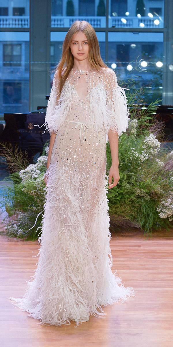sparkling sheath embroidered with feathers wedding dresses 2017 monique lhuillie