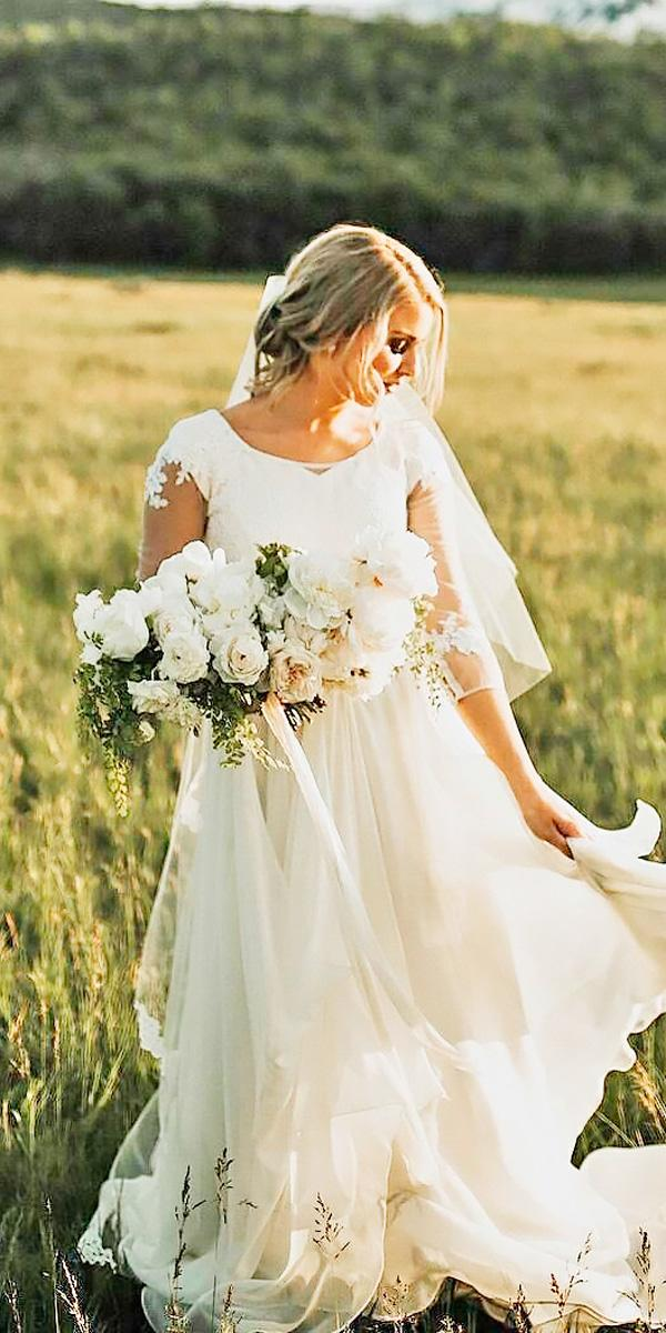 straight country wedding dresses with sleeves and ruffled skirt leanne marshall