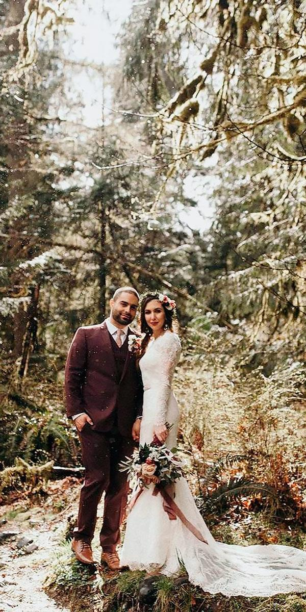 straight lace long sleeved destination wedding dresses with train up in the sycamore