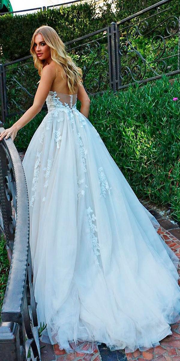 strapless a line with train monique lhuillier wedding dresses